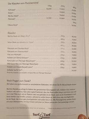 Surf & Turf Speisekarte Neue Mein Schiff 2