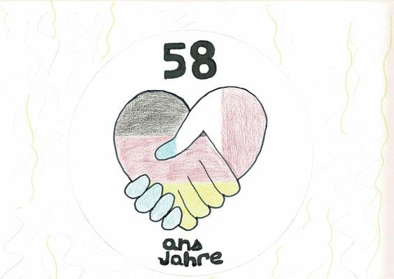 1er prix CM1 - Félicitations Baptiste ! Tu as imaginé le parfait dessin pour célébrer le 58ème annviversaire du Traité de l'Elysée ! (Audincourt - 25)