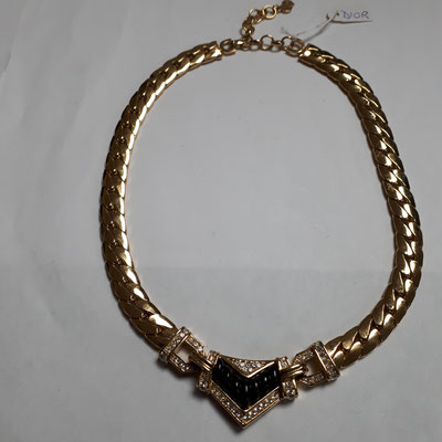 SOLD Christian Dior necklace, black enamel on goldtone with ornate front element, heavy gold link chain, signed. €398