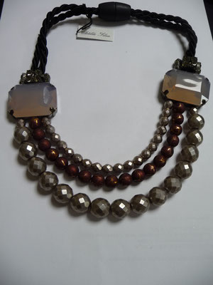 SOLD ! UNGER, Italy, large, 3 row necklace with silver and copper beads and 2 huge baguette stones.  €169