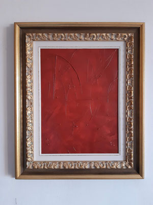 """Trittico """"Tracks"""", parte 3 con cornice d'esempio, tecnica mista su carta, cm. 30 x 40 - € 150"""