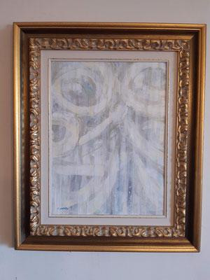"""Lyrical abstract 2"" con cornice d'esempio– tecnica mista su carta, cm. 30 x 40 - € 60"