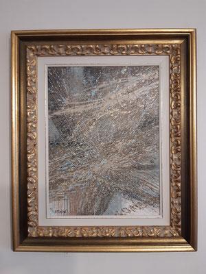 """""""Schiaffo morale"""" con esempio di cornice, tecnica mista su tela, cm. 30 x 40 – € 80"""