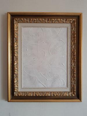 """""""Tracks under the snow"""" con cornice d'esempio, tecnica mista su carta, cm. 30 x 40 - € 100"""