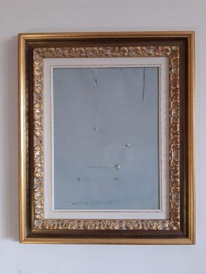 """""""Bilanciamento in grigio"""" con cornice d'esempio, tecnica mista su carta, cm. 30 x 40 - € 100"""