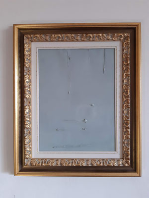 """""""Bilanciamento in grigio"""" con cornice d'esempio, tecnica mista su carta, cm. 30 x 40 - € 150"""
