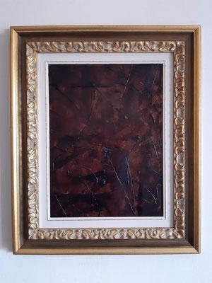 """Trittico """"Tracks"""", parte 2 con cornice d'esempio, tecnica mista su carta, cm. 30 x 40 - € 150"""