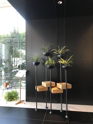 五冠。5本脚に4つの抽斗箱、そして5つの冠。オブジェと家具の間のような、ユニークなデザイン。植物を交換することで季節感や雰囲気を自在に変えることができる。/feeLife YATSUGATAKE/八ヶ岳の家具工房ZEROSSO 創作家具