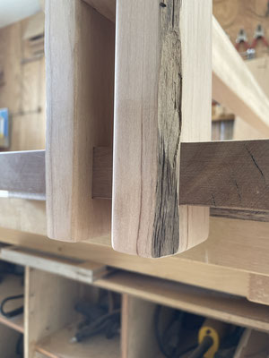 ナチュラルベンチの製作過程。家具工房ZEROSSOのベンチ、オーダーメイド家具。