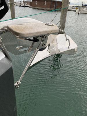 Der Ankerbeschlag, an dem das Segel befestigt wird, ist extra verstärkt worden, damit er sich unter Last nicht wegbiegt!