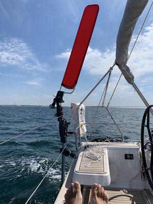 Ab der Fehmarnsund-Brücke war dann wieder genug Wind, um die Windfahnensteuerung auszuprobieren ... hat mich perfekt nach Kiel gebracht!