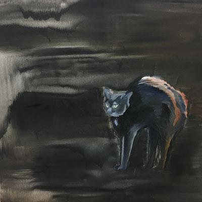 Buckelkatze, 120 x 120 cm, Ölfarbe auf Baumwolle, 2020.