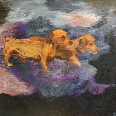 Herr und Frau Dackeli (Wienerdogs), 160 x 160 cm, Öl auf Baumwolle, 2020