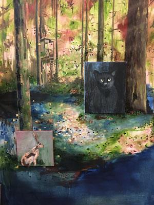 Hochsitz, Ölfarbe auf Baumwolle, 130 x 200 cm, 2020.