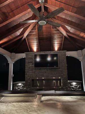 Enhance the ambiance of your outdoor pavilion with indirect light, while featuring the detailed woodwork of its ceiling. Franklin Lakes, NJ