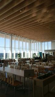 静岡空港の天井には大断面集成材がたくさん使われており、落ち着きます。