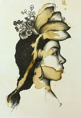 'blossom' coffee ink, mixed media on paper. 24x32cm