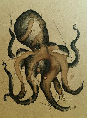 'octopus' coffee ink, mixed media on woodplate. 24x32cm