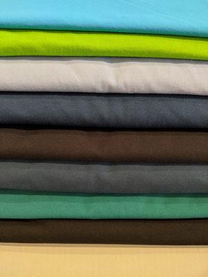 apfelgrün, hellgrau, blau, tiefblau, jeansblau, petrol, schwarz