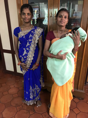 Karpagavalli with her new-born child and Soundarya who got married recently