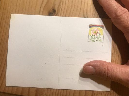 Blume mit Regenbogen: Briefmarke