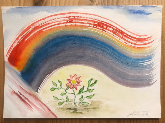 Blume mit Regenbogen (Brief)