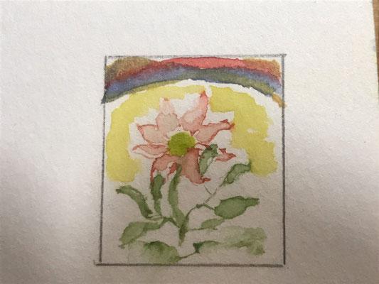 Blume mit Regenbogen: Briefmarke  (Detail, ca 15x20mm)