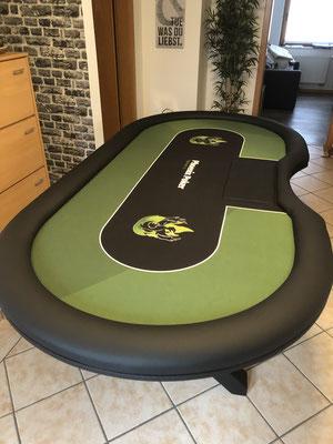 individuell bedrucktes Casino-Tuch, Chiptray + Abdeckung, X-Gestell