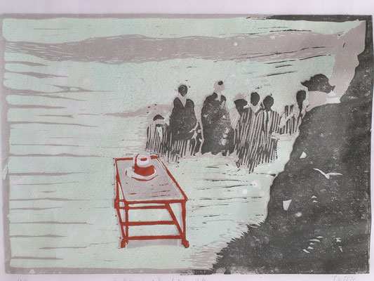 Der Hut von Joseph Beuys hält einen Vortrag (Farblinolschnitt) 20x30