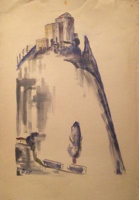 Burg, Otto Eberhardt, 1956, Aquarell, Papier, 53x76cm, ID1680