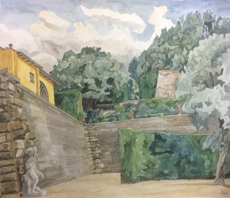 Florenz, Giardino di Boboli v. zweit. Parkplatz, Otto Eberhardt, 1999, Aquarell, Papier, 69x60cm, ID1571