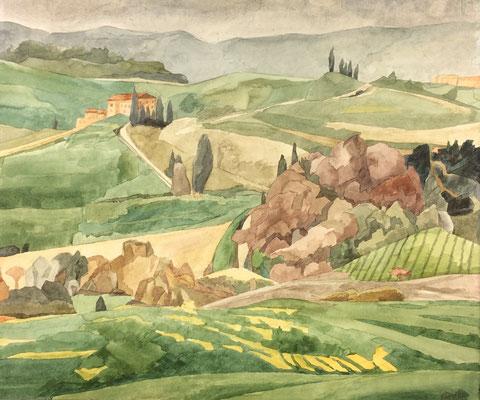 Crete Senesi v. Tenuta Belvedere (Monteroni d'Arabia) II, Otto Eberhardt, 2000, Aquarell, Papier, 48x42cm, ID1589