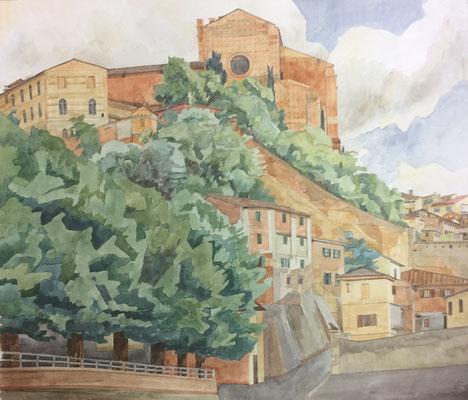 Siena, San Domenico von V. Esterna die Fontebranda, Otto Eberhardt, 1999, Aquarell, Papier, 60x52,4cm, ID1572