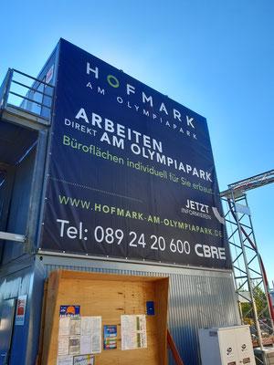 Banner an Bürocontainer 6x6m