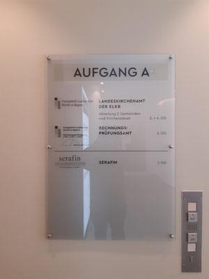 ESG Glas Schild von Hinten bedruckt mit Satinat