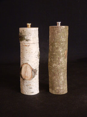 Pfeffer/Salz (Stahl),  Birke/Buche (?),  2 x ca. 6 x 20 cm,  als Paar CHF 130.-,  Lieferbar