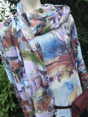traumhaft schöner leichter Pulli mit passendem federleichten Tuch, Muster und Farben passen perfekt zueinander