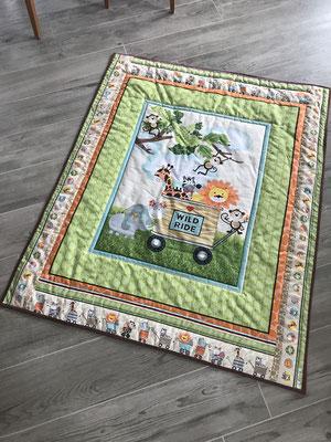 Baby Quilt Patchwork Krabbeldecke aus Stoffpanel Löwe