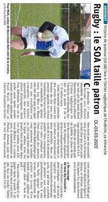 Dauphiné libéré du 03-03-2020- Rugby Annonay