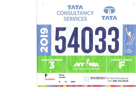 Startnummer für den New York Marathon