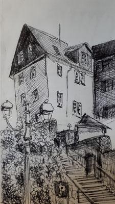 An der Domtreppe in Wetzlar, Pigmentliner im Skizzenbuch