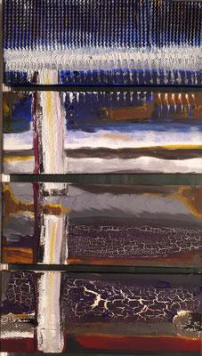 Watt und mehr, 88 x 50, Acryl, Wellpappe, Struktur und Rost auf Leinwand