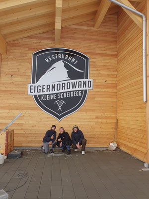 Fassadenbeschriftung Restaurant Eigernordwand Kleine Scheidegg Grindelwald
