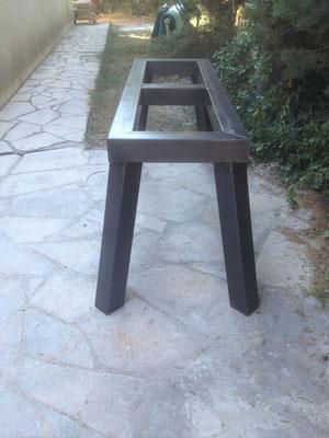 Table en metal effet massif pour plateau bois