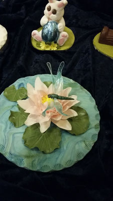 March Demo. Janet Pavey waterlily & Dragonfly