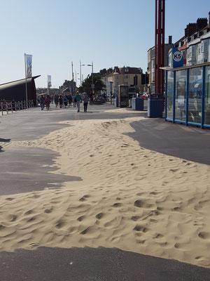 Laufstecke mittlerweile voll Sand, weil es so windet