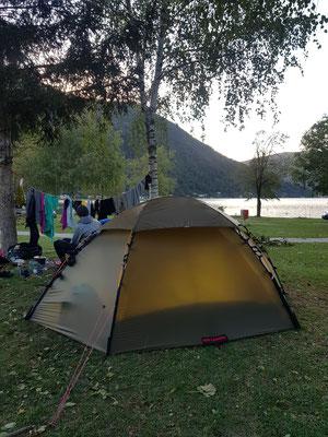 Letzte Übernachtung auf Schweizer Boden in Melano