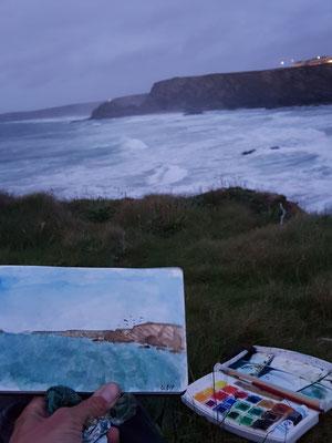 Mike am Malen auf den Klippen von Porth