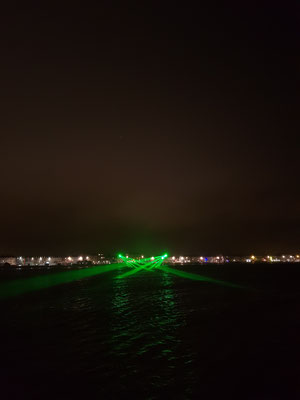 Lasershow am Abend: Bye bye Weymouth