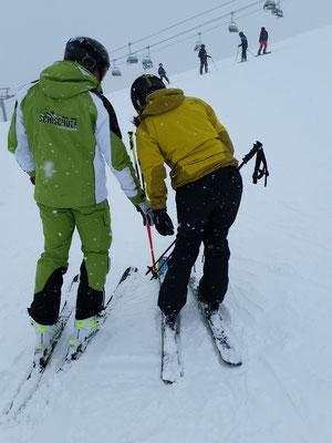 Instruktionen von unserem Skilehrer